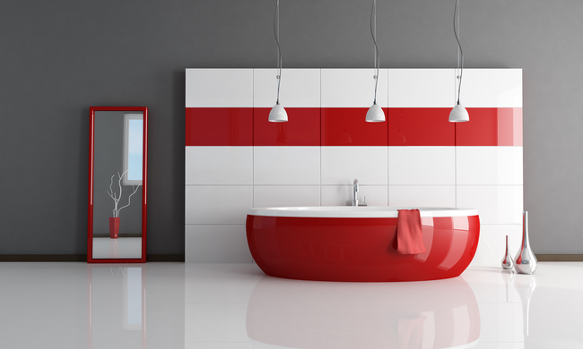 Red and White Bathroom Wetwall