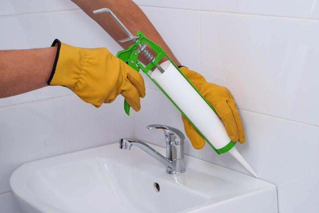 bathroom adhesive application