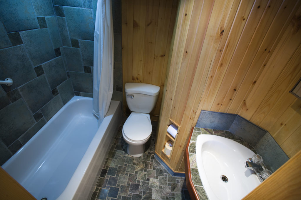 wooden bathroom panelling