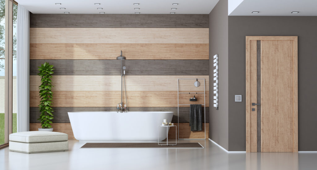 contemporary bathroom and with bathroom panels