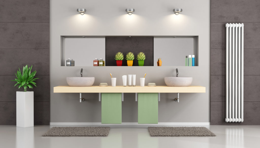 Modern bathroom with double washbasin on wooden shelf , niche with mirror and objects - 3d Rendering
