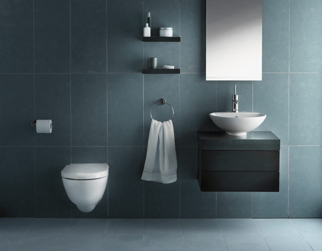 Minimalist bathroom with clean lines and cool colour tone.