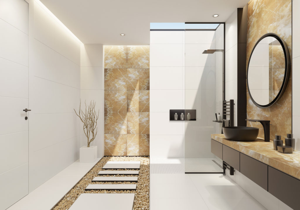 Luxurious wet room featuring clean lines and a neutral colour scheme.