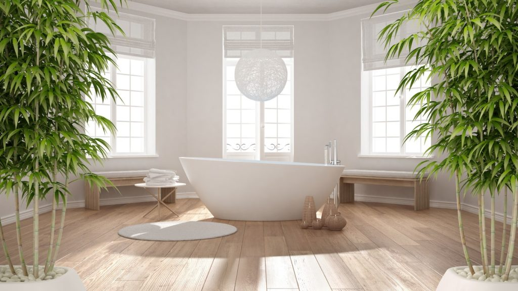 Feng Shui bathroom with central bath and bamboo