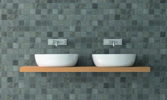Grey mosaic wall panels
