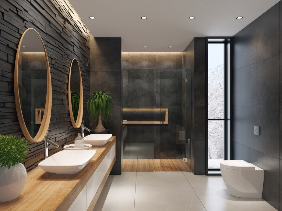 Modern bathroom with textured feature walll