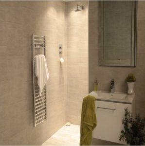 Bathroom with moonstone wall panels