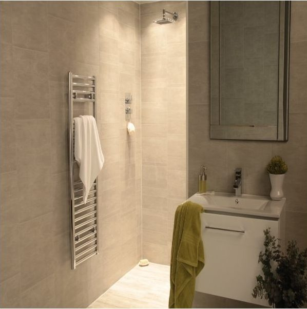 Bathroom with moonstone wall panels